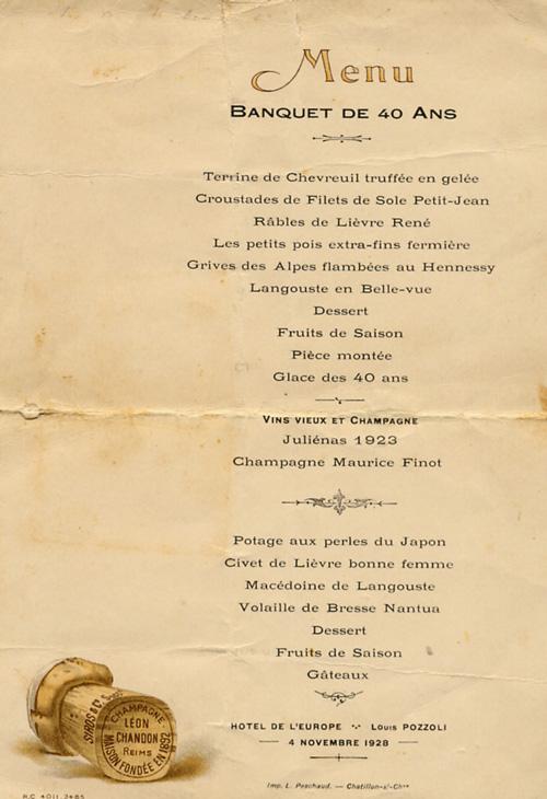 D couvrez la dombes et le menu du banquet des classe 40 for Menu reception amis